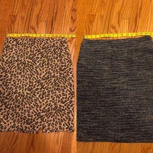 Lot 2 Banana Republic Loft Pencil Skirts Leopard